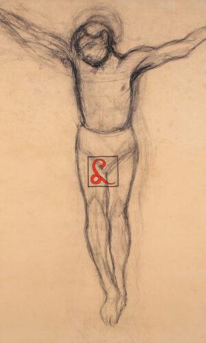 Ottone Rosai - Giovinetto crocifisso, carboncino su carta applicata