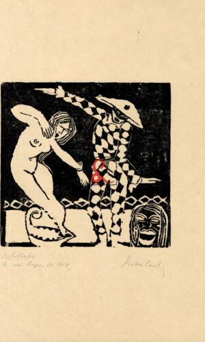 Primo Conti, Arlecchino e donna, xilografia, cm 21x21, firmata in basso a destra