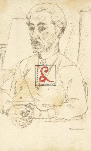 Orfeo Tamburi, autoritratto, cm 26x21. Penna di china su carta applicata su tela. Firma in basso a destra 'Tamburi', verso etichetta Galli