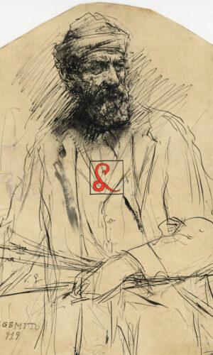 Vincenzo Gemito, Autoritratto, china su carta, cm 24.7x22.4. In basso a sinistra 'V.G.' in stampato 'V. Gemito 919'